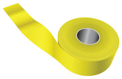 Yellow warning tape. Used in the fencing scene of the crime or incident. Vector illustration Stock Photography