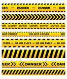 Yellow warning tapes set Royalty Free Stock Photo