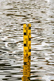 Yellow Water Level Staff Gauge Royalty Free Stock Photography