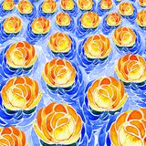 Yellow water lilies on the surface of the water. Watercolor. Stock Images