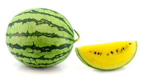 Yellow water melon on white background Royalty Free Stock Image