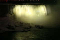 Yellow Water Spot. Niagara Falls at Night - Canadian Horseshoe Falls stock image