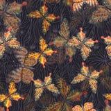 Seamless pattern of beautiful yellow butterflies illustration on black background