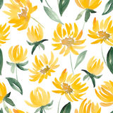 Yellow Watercolor Flowers and leaf seamless summer pattern. Royalty Free Stock Photo