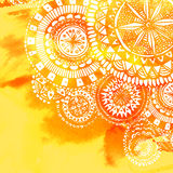 Yellow watercolor paint background with white hand. Drawn round doodles and mandalas. Vector design of backdrop Royalty Free Stock Photos