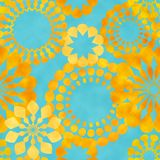 Yellow watercolor retro flowers on blue vector illustration