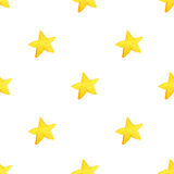 Yellow watercolor stars background. illustration for greeting card, sticker, poster, banner. Royalty Free Stock Images