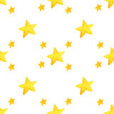 Yellow watercolor stars background. illustration for greeting card, sticker, poster, banner. Royalty Free Stock Image