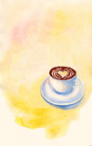 Yellow watercolor template background with a cup. Of coffee and a place for your text. Artistic illustration for various designs Stock Images