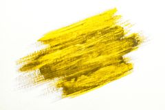 Yellow brush stroke. Yellow watercolor texture paint stain brush stroke Stock Images
