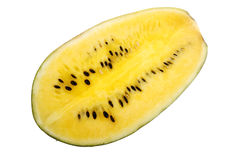 Yellow watermelon. Fresh ripe yellow watermelon isolated on white Royalty Free Stock Photo