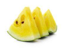 Yellow watermelon isolated on white background Royalty Free Stock Photography