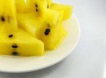 Yellow watermelon on  plate Stock Image