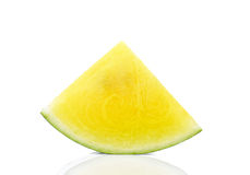 Yellow watermelon  slice on white background. Royalty Free Stock Images