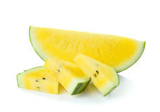 Yellow watermelon  sliced on  white background Royalty Free Stock Images