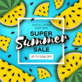 Yellow Watermelon Super Summer Sale Banner in paper cut style. Origami juicy ripe watermelon slices. Healthy food on. Yellow. Square frame for text. Summertime Stock Photography