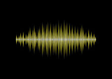 Yellow waveform. Yellow neon shiny music or sound waveform Stock Photos