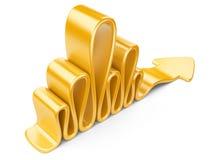 Yellow wavy arrow Stock Image