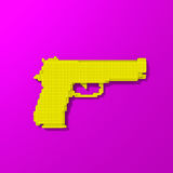 Yellow weapon low poly illustration. Yellow rendered gun, low-poly illustration on colorful background Royalty Free Stock Photo