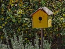 Yellow weathered bird house in a home garden stock photos