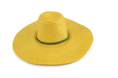 Yellow weave plastic hat  on the white background.  Royalty Free Stock Photos