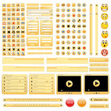 Yellow web design elements set. Vector illustration Stock Photos