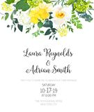 Yellow wedding botanical vector flower design invitation. Vertical frame or card. Daffodil, wild rose, white and green hydrangea, eucalyptus and wildflowers stock illustration