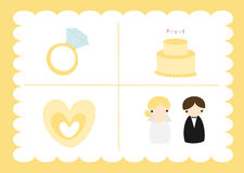 Yellow Wedding Set. Yellow wedding Elements set illustration Vector Illustration