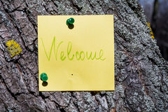 Yellow welcome sign  pinned on a tree Royalty Free Stock Photo
