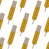 Yellow wheat ears seamless pattern. Retro stylized agriculture seamless pattern with ripe yellow wheat ears on white background Stock Image