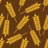 Yellow wheat ears seamless pattern. Ripe wheat ears seamless pattern with yellow grains randomly scattered on brown background. For agriculture or harvest themes Stock Photos