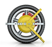 Yellow wheel clamp Royalty Free Stock Photo