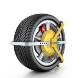 Yellow wheel clamp Stock Photos