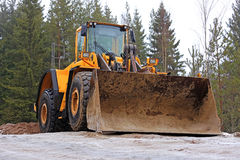 Yellow Wheel Loader at Construction Site Stock Photos