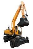 Yellow wheeled excavator. Royalty Free Stock Image
