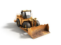 Yellow wheels Bulldozer 3d render Isolated on white Royalty Free Stock Image