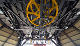 Yellow Wheels of Cableway Stock Photography
