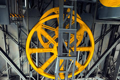 Yellow Wheels of Cableway Stock Images