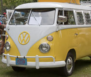 Yellow & White 1966 VW Camper Front Side view Royalty Free Stock Photo