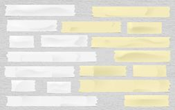 Yellow and white adhesive, sticky, masking, duct tape strips for text on spotted gray background. Vector illustration. Vector Illustration