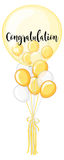 Yellow and white balloon with word congratulation Stock Photo