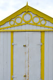 Yellow and White Beach Hut Stock Images
