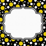 Yellow, White and Black Polka Dot Frame Background Stock Image