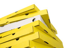 Yellow and white boxes of pizza. There are many pizza boxes on white background, difference another color box Royalty Free Stock Image