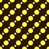 Yellow, White and Brown Polka Dot Fabric Background. Yellow, White and Brown Polka Dot Fabric with different size dots with texture Background that is seamless Royalty Free Stock Images