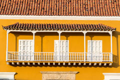 Yellow and White Colonial Balcony Royalty Free Stock Photo
