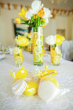 Yellow and white cookies Stock Photos
