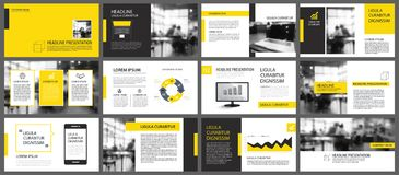 Yellow and white element for slide infographic on background. Pr. Esentation template. Use for business annual report, flyer, corporate marketing, leaflet Royalty Free Stock Photo
