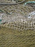 Yellow and White Fishing Net Display Textured Background. Photography Stock Image