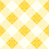 Yellow White Flower Diamond Chessboard Background Stock Images